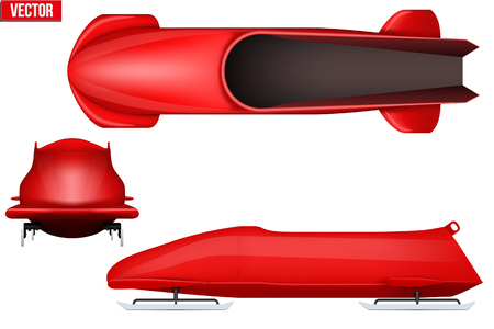 bobsled: Set of Classic bobsleigh for two athletes. Top and front and side view.