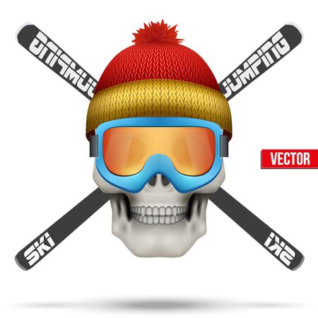Skull with winter hat and skies. Ski club or team. Vector Illustration isolated on background.