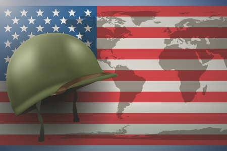 Military helmet on the background of the American flag with world map. Veterans day Poster of WWII or modern wars.