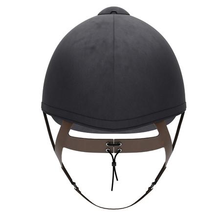 Classic Jockey helmet for horseriding athlete. Back view. Velvet material. 3D render Illustration isolated on a white background.