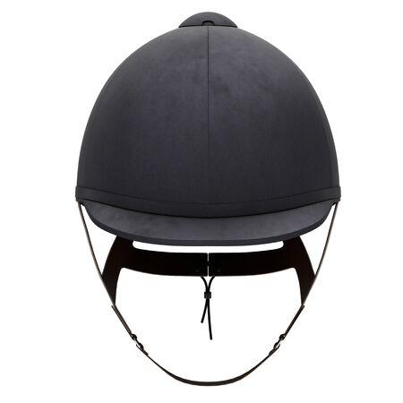 Classic Jockey helmet for horseriding athlete. Front view. Velvet material. 3D render Illustration isolated on a white background.