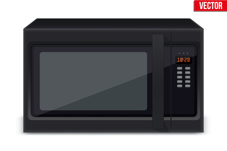 Original Classic Microwave Oven for Sample model for Electronic Kitchen appliance in Black Glass Color Illustration isolated on white background. Illustration