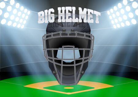 Baseball stadium in the spotlight with big catcher helmet