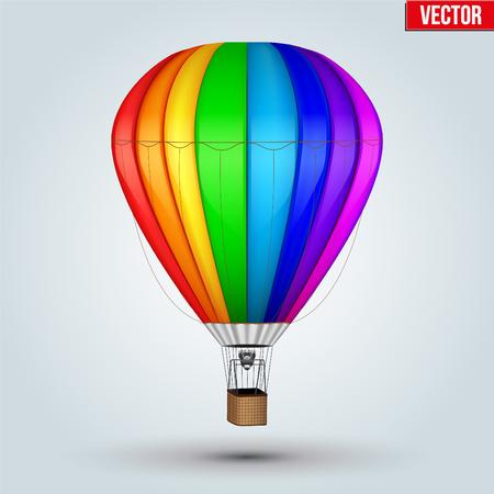 airship: Realistic Hot Air Balloon. Rainbow Color. Editable Vector Illustration isolated on background.