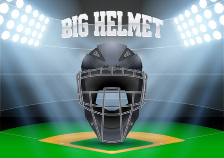 Poster Template of Baseball with Catcher Helmet. Cup and Tournament Advertising. Softball Sports Event Announcement Vector Illustration.