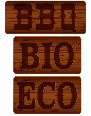 Name plate of wood with words BBQ BIO ECO.