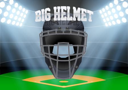 Horizontal Background of night baseball stadium in the spotlight with big catcher helmet. Editable Vector Illustration. Illustration