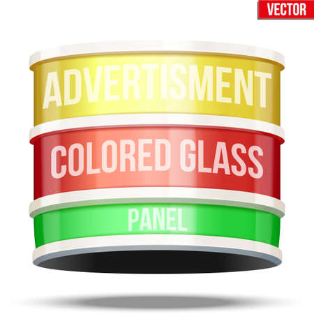 Round colored glass panel for advertising. Illustration