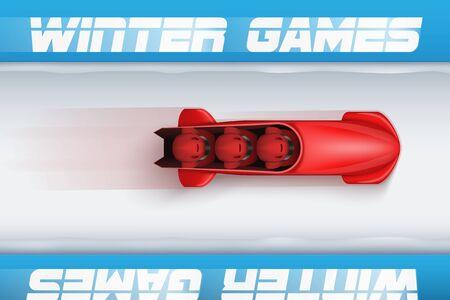 Draufsicht der Bob-Bahn mit rotem Bob und Athleten entwerfen Schablonenillustration. Vektorgrafik
