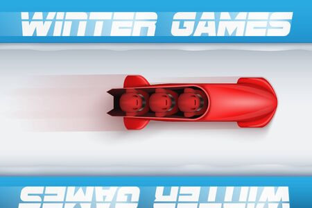 bobsled: Top View of Bobsleigh Track with red bobsled and athletes design template illustration.