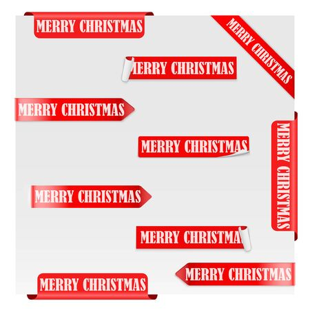 Set of Merry Christmas Red Label Ribbons. Vector illustration Isolated on white background.