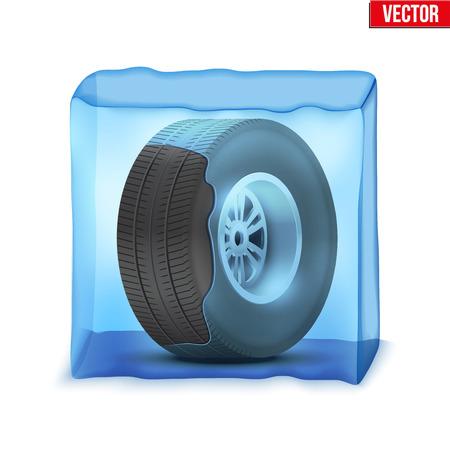 Automobielwiel in het ijsblokje. Symbool van het rijden in het winterseizoen. Illustratie op wit wordt geïsoleerd.