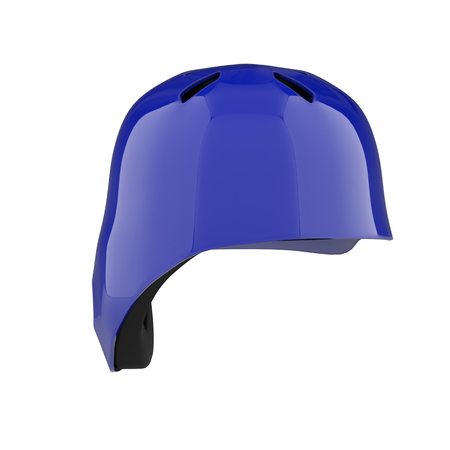 Baseball batting helmet with one ear protect. Back view. Sport equipment. 3D render illustration. Isolated on white background. Stock Photo
