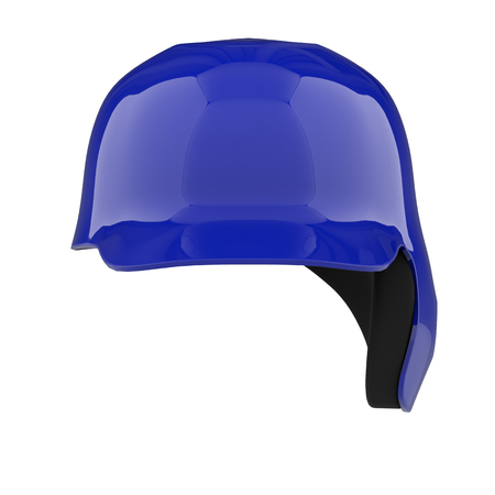 Baseball batting helmet with one ear protect. Front view. Sport equipment. Isolated on white background. Stock Photo