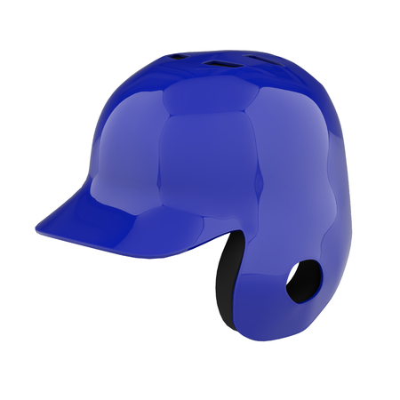 Baseball batting helmet with one ear protect. Perspective view. Sport equipment. 3D render illustration. Isolated on white background. Stock Photo