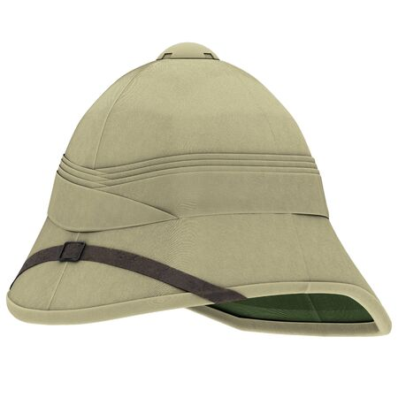 Classic Cork Pith Helmet. Perspective view. Equipment for safari or explorer. Research and discover. 3D render Illustration isolated on a white background.