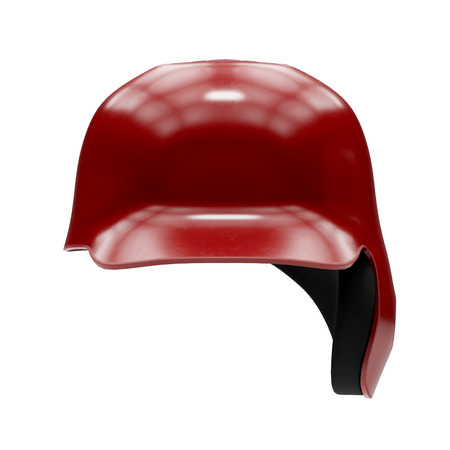 Baseball batting helmet with one ear protect. Red color and Front view. Sport equipment. 3D illustration. Isolated on white background.