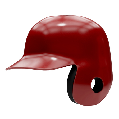 Baseball batting helmet with one ear protect. Red color and Perspective view. Sport equipment. 3D illustration. Isolated on white background.