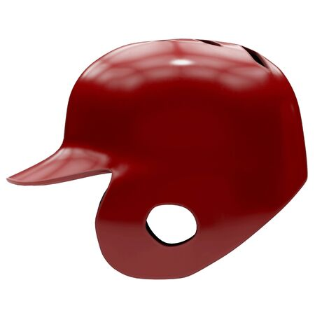 Baseball batting helmet with one ear protect. Red color and Side view. Sport equipment. 3D illustration. Isolated on white background. Stock Photo