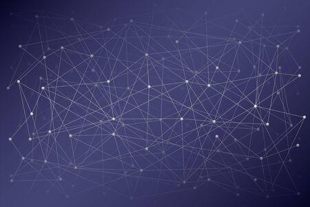 科学やブロックチェーンの抽象的なデジタル背景。分子またはブロックが接続されています。ベクトルイラストレーション。