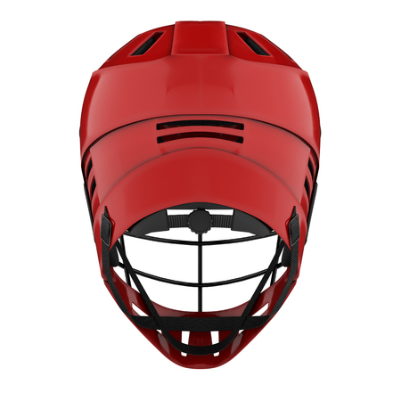 Classic Lacrosse helmet. Back view. Sport goods and equipment. 3D illustration. Isolated on white background.