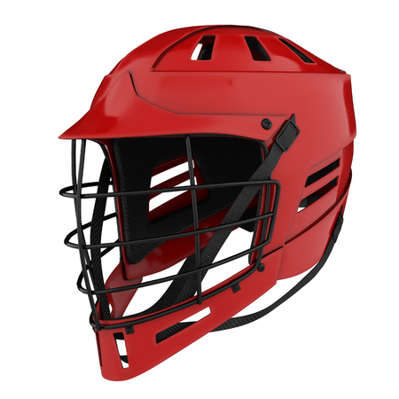 Classic Lacrosse helmet. Perspective view. Sport goods and equipment. 3D illustration. Isolated on white background. Stock Photo