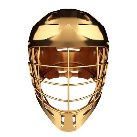 Golden Lacrosse helmet. Front view. Sport goods and equipment. 3D render illustration. Isolated on white background.