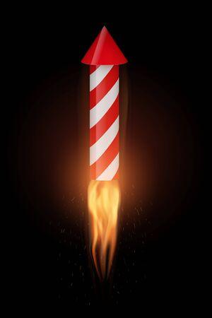 Firework rocket with flame flies up. Concept of start business or sales. Startup driver. Editable Vector Illustration Illustration