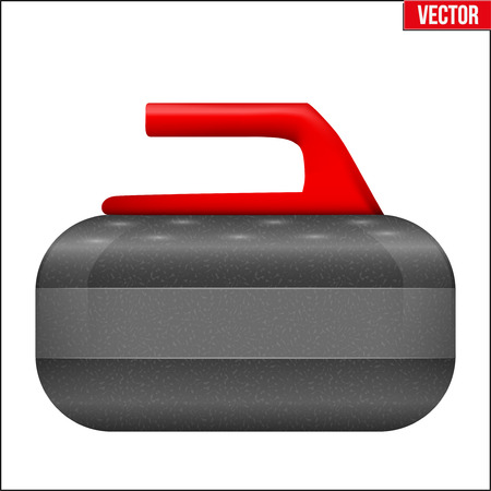 Curling Stone with handle. Equipment for sport game. Vector Illustration isolated on white background.