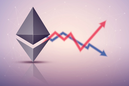 Background of Ethereum exchange trading. Time to market trading. Profit and loss. Editable Vector Illustration Illustration