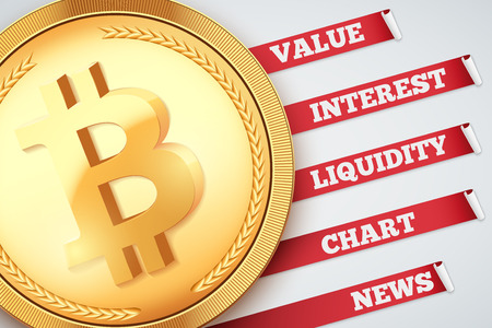 Background of Bitcoin Infographic. Knowledge and information of cryptocurrency. Editable Vector Illustration