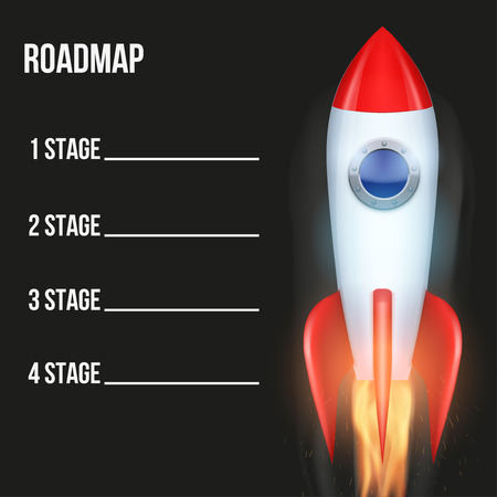 Business concept of timeline road map with rocket. Task execution plan in space road map style. Infographic for investors. Vector illustration. 일러스트