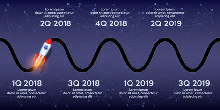 Business concept of timeline roadmap. Task execution plan in road map style. Wave path with rocket and points. Infographic for investors. Vector Illustration. Vettoriali