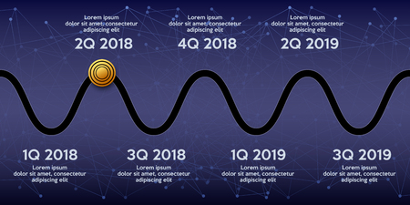 Business concept of timeline roadmap. Task execution plan in road map style. Wave path with points. Infographic for investors. Vector Illustration. Illusztráció