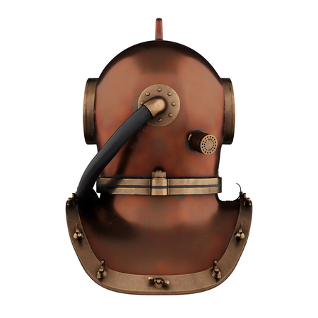 Underwater diving scuba helmet. Old school and vintage style. Back view. 3D render Illustration isolated on a white background.