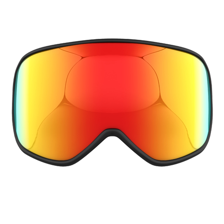 Original Modern Snowboard Goggles. Winter sport equipment. Front view. 3D render Illustration isolated on a white background.