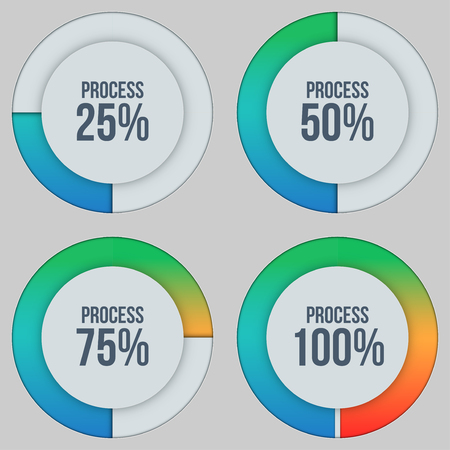 Infographic scale in percentage visualizing process of job complete. Circle and colour scale. Vector illustration isolated on background. Ilustração