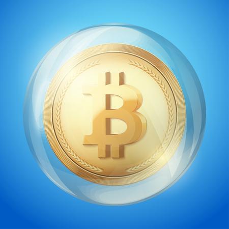 Bitcoin sign in bubble. Concept of bitcoin fail. Vector Illustration