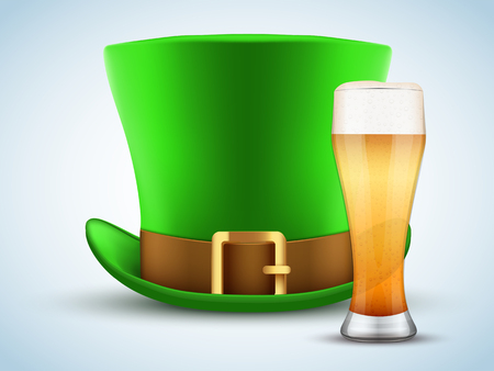 St. Patrick green hat with beer glass. Design Element for Saint Patricks day. Symbol of Irish holiday. Vector illustration isolated on white background.