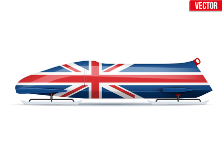 Bob sleighs with British flag. Bobsleigh Sport Country Symbol. Side view. National team for Bobsled and Skeleton. Vector Illustration isolated on white background.