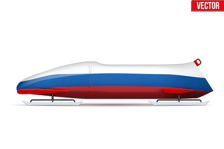 Bob sleighs with Russian flag. Bobsleigh Sport Country Symbol. Side view. National team for Bobsled and Skeleton. Vector Illustration isolated on white background. Illustration