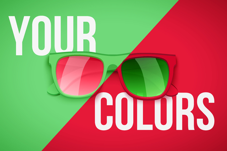 Concept poster of your personality. Fashion sunglasses on green and red color background. Vector illustration.