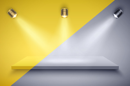 Light box with Black and white platform and yellow color on with three spotlights. Editable Background Vector illustration. Illustration