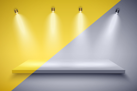 Light box with Black and white platform and yellow color on with four spotlights. Editable Background Vector illustration.