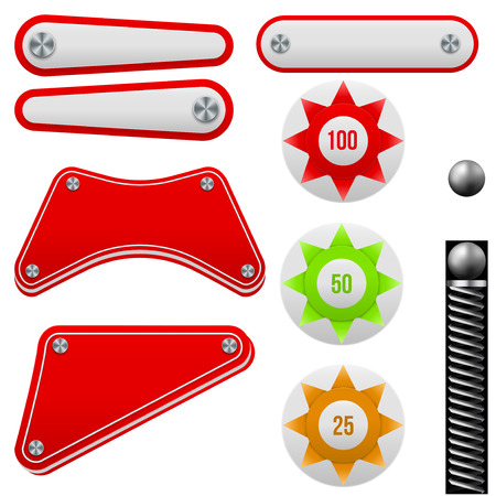 Pinball set. Bumpers and flippers kit. Game design and creative concepts. Vector Illustration isolated on white background.