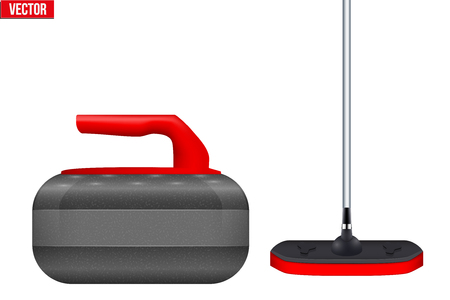 Curling Equipment. Broom and stone for curling. Vector Illustration isolated on white background. Illustration