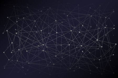 Abstract Digital background of Science or Blockchain. Molecules or blocks are connected in space. Vector Illustration.