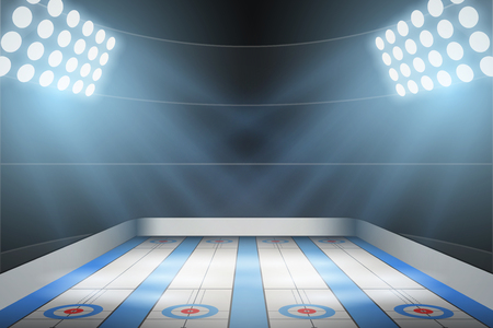 Horizontal Background of curling ice arena in the spotlight. Curling indoor rink. Editable Vector Illustration. Stock Illustratie