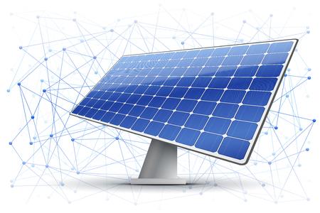 Ilustracja wektorowa łańcucha blokowego w branży zielonej energii. Tło bloków jest połączone w przestrzeni z panelem słonecznym.