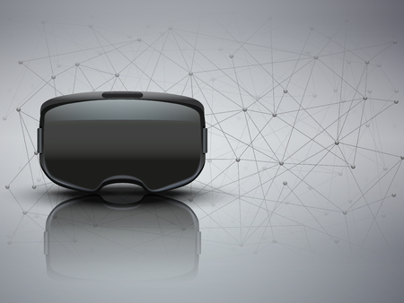 A Background of 3d VR headset and Blockchain. Front view. Vector illustration.